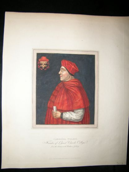 Ackermann History of Oxford 1815 Hand Col Portrait. Cardinal Wolsey | Albion Prints